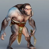 Primitive Man Hunting Game Character