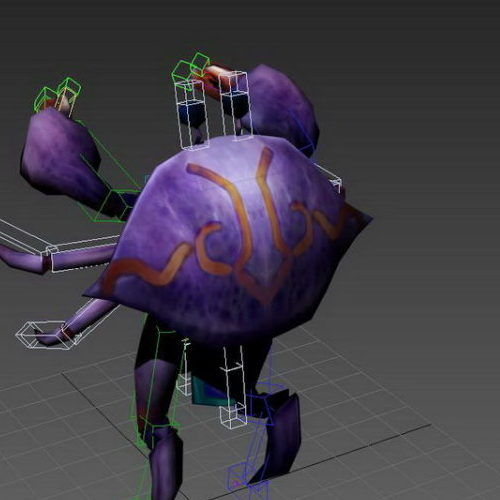 Purple Crab Cartoon Rigged
