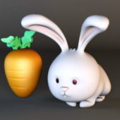 Rabbit Character And Carrot