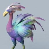 Red Hawkstrider Bird Rigged