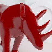 Red Rhino Plastic Statue