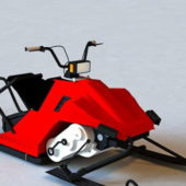 Red Snowmobile Vehicle