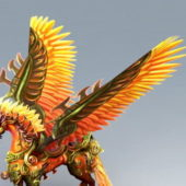 Red Unicorn Character With Wings