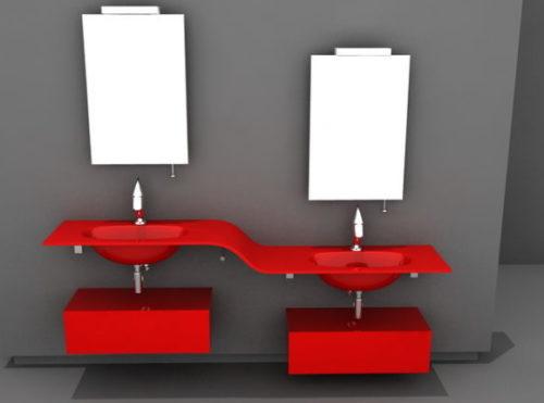 Modern Red Bathroom Vanity Unit Design