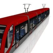 Red Electric Tram Vehicle