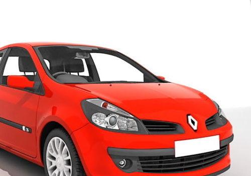 Red Renault Clio Sedan Car