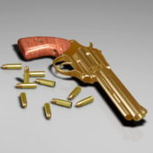 Weapon Revolver With Bullets