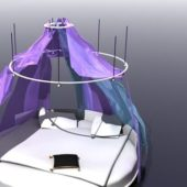 Round Canopy Bed With Curtain