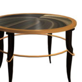 Round Marble Top Wooden Table