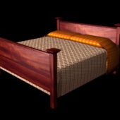 Rustic Wood Double Bed