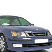 Blue Paint Saab Car