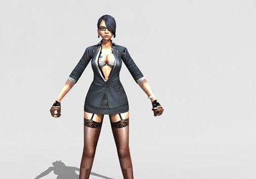 Sexy Character Female Spy Agent Rigged