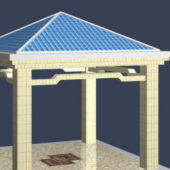 Square Blue Roof Gazebo Building