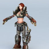 Steampunk Warrior Girl Character