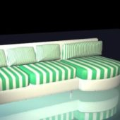 Striped Sofa Furniture With Chaise