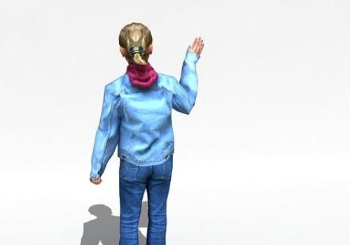 Character Teenage Girl Waving