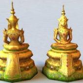 Ancient Golden Thai Buddha Statue