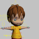 Toddler Boy Cartoon Character Rig