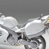 Silver Touring Motorcycle