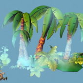 Cartoon Style Tropical Island