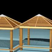 Twin Wooden Gazebos Design