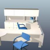 U Shaped Furniture Workstation With Hutch