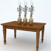 Vintage Wooden Table With Vases