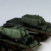 Kv-1 Military Tank Wrecked