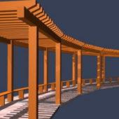 Walkway Pergola Wooden Structure