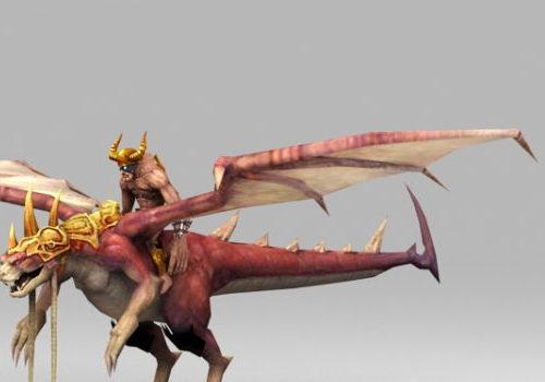 Warrior Riding Dragon Character