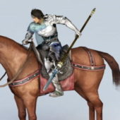Warrior Riding Horse Man Character