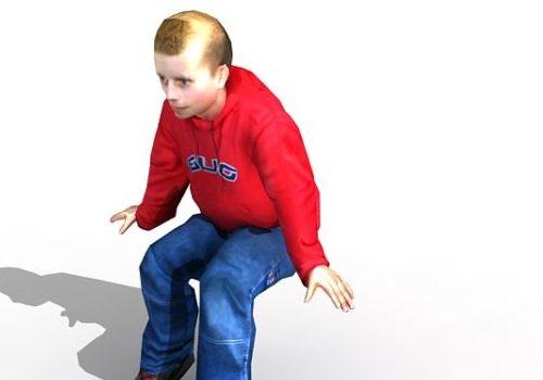 Character White Teenage Boy Sitting