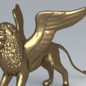 Golden Winged Lion Statue