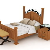 Wood Furniture And Iron Sleigh Bed