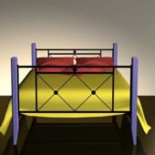 Wood Wrought Iron Frame Bed