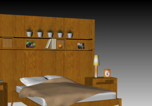 Wood Bed With Accessories Decoration