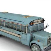 Wrecked Blue Church Bus