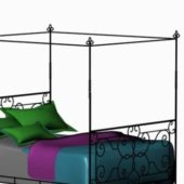 Furniture Wrought Iron Four Poster Bed