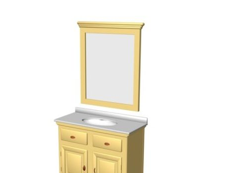 Antique Yellow Paint Bathroom Cabinet