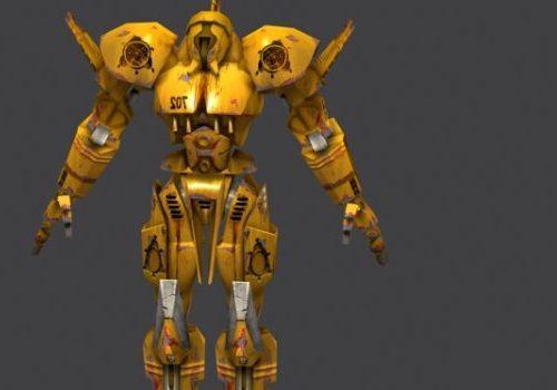 Yellow Battle Robot Game Character