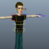 Cartoon Young Boy Character Rigged